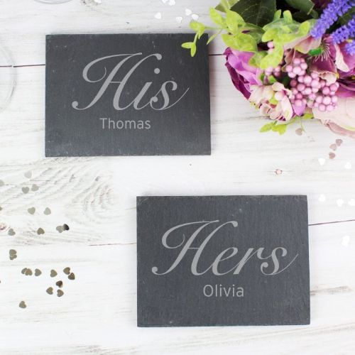 His and Hers Slate Coaster Set